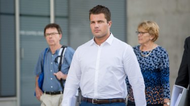 Mr Tostee leaves Brisbane Supreme Court after day three of this murder trial on October 12.