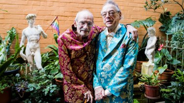 Peter Bonsall-Boone (left) and his long-term partner Peter de Waal marched in Sydney's first Mardi Gras.