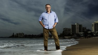 Scott Morrison on the beach at North Cronulla.