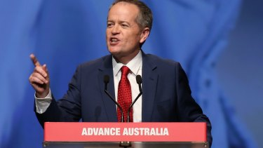 """""""Bring it on"""": Bill Shorten addresses the ALP national conference in Melbourne on Friday."""