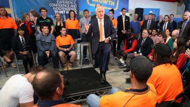 Malcolm Turnbull at a youth jobs forum in Perth this month.