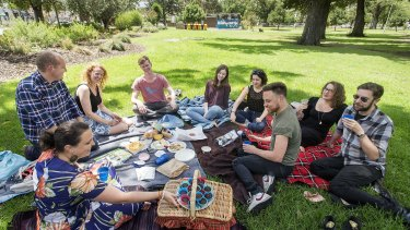 Laura Mcarthy (foreground) celebrates her birthday with friends and a picnic in Edinburgh Gardens.