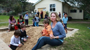 Michelle Armstrong and son Ryan, 3, at Brooklyn preschool.