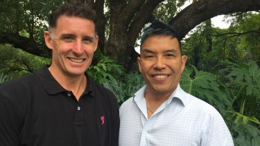 Former Australian cricketer Mike Hussey and interim Men's Health and Wellbeing CEO Simon  Yam.