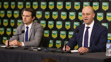 Handing down punishments: NRL integrity boss Nick Weeks and CEO Todd Greenberg.