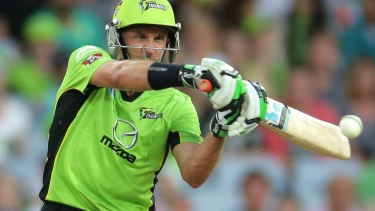 Australian great Mike Hussey playing for Sydney Thunder.