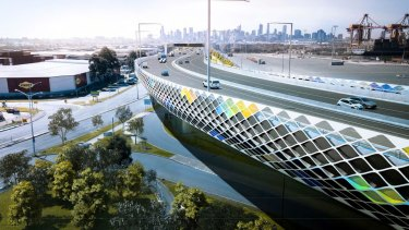 An artist's impression of the Footscray Road elevated freeway section of the West Gate Tunnel.