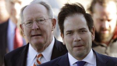 Florida Senator Marco Rubio, right, with Tennessee Senator Lamar Alexander.