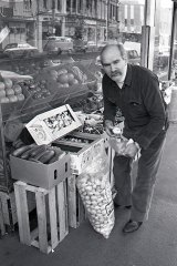 Con Miriklis, the inspiration for TV character Con the Fruiterer, at his  shop in Brunswick Street, Fitzroy, in the early 1980s.