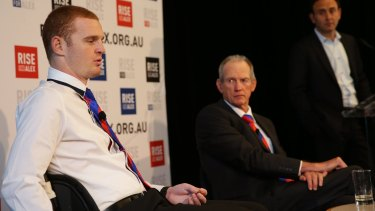 Bennett with Alex McKinnon at the Knights forward's first press conference last year since suffering his spinal injury.