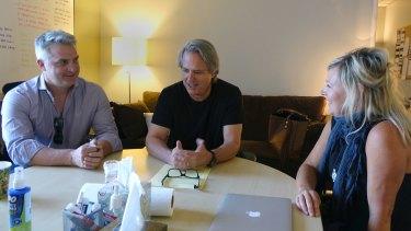 David Taylor, from <i>Playmaker</i>; Graham Yost, writer/producer of <i>The Americans</i>, <i>Justified</i>; and Shelley Birse, writer/producer of <i>The Code</i>.