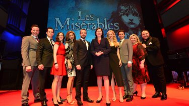 The Les Miserables cast is welcomed to QPAC by the Premier Annastacia Palaszczuk.