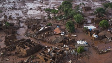 Homes lay in ruins after two dams flooded the small town of Bento Rodrigues in Minas Gerais state, Brazil.