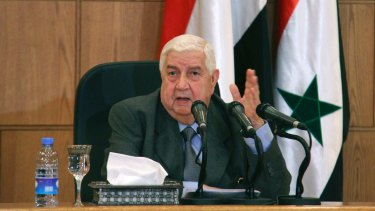 Syria's Foreign Minister Walid al-Moallem blamed a leak at a rebel chemicals factory for killing dozens of people on Tuesday.