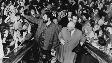 Then Cuban prime minister Fidel Castro and Soviet leader Nikita Khrushchev in Moscow in 1963.