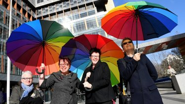 Lee Gibbens, Sarah Marlowe, Felicity Marlowe and Jacqui Tomlins support the challenge to the same-sex marriage postal vote.