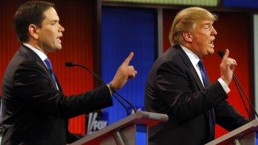 Republican presidential candidates Senator  Marco Rubio businessman Donald Trump argue during the debate at Fox Theatre, on Thursday.