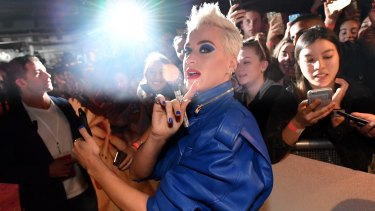 Katy Perry greets fans at Myer's Sydney City store on Friday.