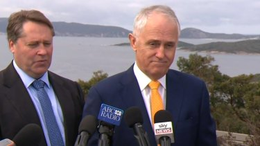 An unhappy Malcolm Turnbull takes questions on same-sex marriage during a press conference near Perth.