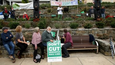 Protesters gather in Newcastle.