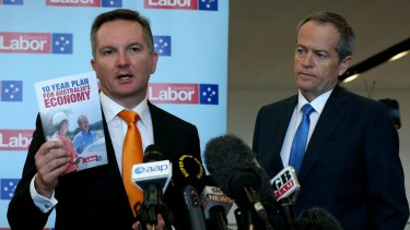 Shadow treasurer Chris Bowen and Opposition Leader Bill Shorten address the media after the Queensland Labor Business Breakfast in Brisbane on Wednesday.