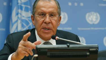 Russian Foreign Minister Sergey Lavrov speaks during a news conference on Friday at the UN headquarters.