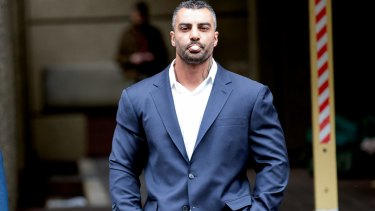 Former bikie boss Mick Hawi arrives at court for sentencing on Friday.