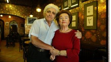 Avram and Masha Zeleznikow at Cafe Scheherazade on Ackland Street.