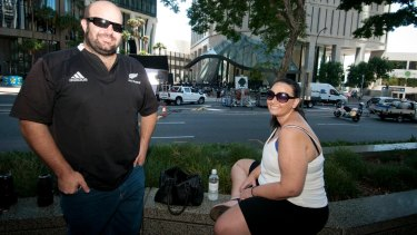 Jeff Facoory and Tia Kiel watching the shoot in Brisbane's CBD where the new sci-fi monster film Pacific Rim: The Maelstrom is filmed.