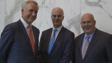 Left to right: Clydesdale Bank chief executive David Duffy, NAB chief financial officer Craig Drummond, and Clydesdale Bank CFO Ian Smith.