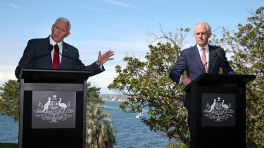 US Vice-President Mike Pence, left, during a joint press conference with Prime Minister Malcolm Turnbull.