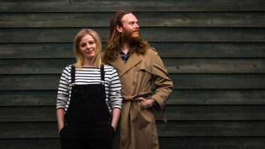 Filmmakers Alice Foulcher and Gregory Erdstein, near their home in Melbourne's Richmond.