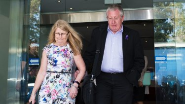 Faye and Mark Leveson leave the Glebe Coroners Court on Thursday.