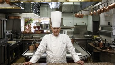 Legendary French chef Paul Bocuse at his famed Michelin three-star restaurant L'Auberge du Pont de Collonges in Collonges-au-Mont-d'or, central France.