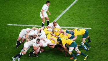 Aussies force: The Wallabies' scrum set the platform for their win.