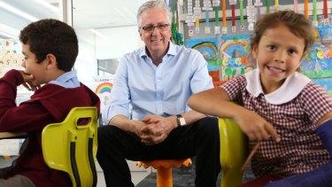 Mark Scott with Thomas McKenzie and Leelia Haines at Moree East Public School .