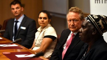Mayor of Port Headland Camillo Blanko, Bianca Crake, Andrew 'Twiggy' Forrest and Jean Reerie at Parliament House.
