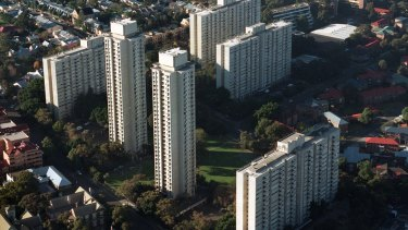 Public housing apartment blocks at Waterloo.