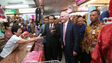 Prime Minister Malcolm Turnbull with Indonesian President Joko Widodo taking  a stroll through a textile market in Jakarta in November of last year.