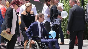 Ben Hollow at the funeral for his girlfriend Lauren Brownlees who was tragically killed after being struck by lightning.