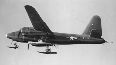 """A US Navy Lockheed Neptune bomber, equipped with aluminium """"skis"""" for Arctic and Antarctic landing, in the late 1950s."""