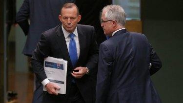 Tony Abbott and Malcolm Turnbull in Parliament.