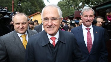 Prime Minister Malcolm Turnbull travelled on the Puffing Billy railway with local member Jason Wood and Senator Richard Colbeck on Wednesday.