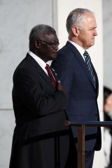 Solomon Islands Prime Minister Manasseh Damukana Sogavare with Australian Prime Minister Malcolm Turnbull.
