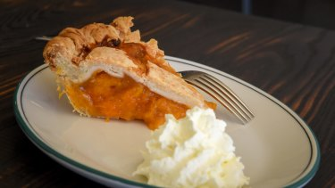 Apricot and cinnamon pie, one of the American-style pies on offer.