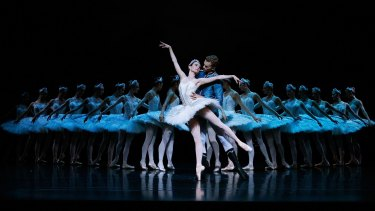 Dancers perform on stage during rehearsal of the Australian Ballet's production of Swan Lake.