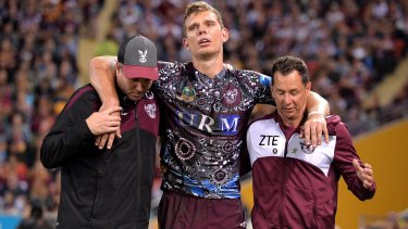 Tom Trbojevic of the Sea Eagles was injured in the match against the Brisbane Broncos on Saturday.