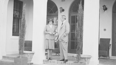 Prime minister Stanley Bruce and his wife Ethel on the porch of The Lodge in 1927.