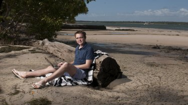 """The former assistant minister for innovation Wyatt Roy, pictured """"at the office"""" on Bribie Island while he was a member of Parliament."""