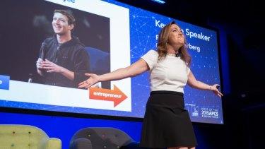"""Where do children learn that behaviour to stare into phones?"" Randi Zuckerberg asks in Brisbane."